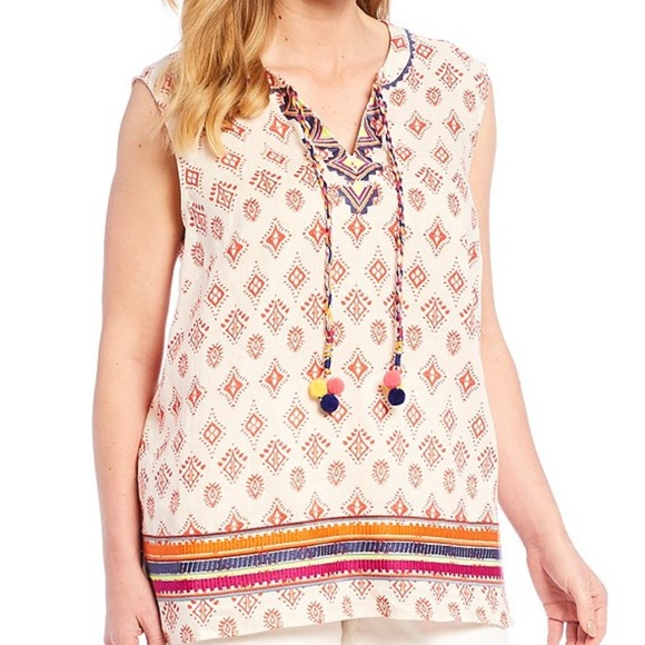 CHELSEA & THEODORE Pom Tassel Tie Embroidered Top